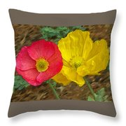 Surprised Poppies Throw Pillow
