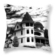 Surreal Black White Mackinac Island Michigan Infrared Victorian Home Throw Pillow