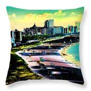 Surreal Colors Of Miami Beach Florida Throw Pillow