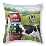 Surreal Cow Throw Pillow