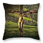 Surreal Crucifix Landscape Throw Pillow