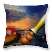 Surreal Dinner Served Over The Ocean Throw Pillow