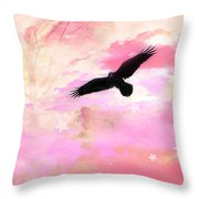 Surreal Dreamy Fantasy Ravens Pink Sky Scene Throw Pillow by Kathy Fornal