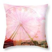Surreal Dreamy Pink Myrtle Beach Ferris Wheel Throw Pillow
