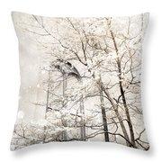 Surreal Dreamy Winter White Church Trees Throw Pillow