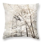 Surreal Dreamy Winter White Church Trees Throw Pillow