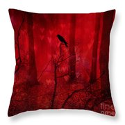 Surreal Fantasy Gothic Red Woodlands Raven Trees Throw Pillow