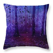 Surreal Fantasy Starry Night Purple Woodlands - Purple Blue Fantasy Nature Fairy Lights  Throw Pillow