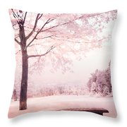 Surreal Infrared Dreamy Pink And White Park Bench Tree Nature Landscape Throw Pillow