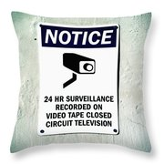 Surveillance Sign On Concrete Wall Throw Pillow