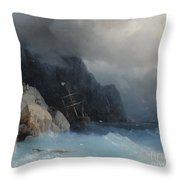 Survivors Of A Shipwreck On A Rocky Path  Throw Pillow