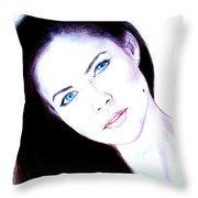Susan Ward Blue Eyed Beauty With A Mole II Throw Pillow