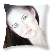 Actress And Model Susan Ward Blue Eyed Beauty With A Mole Throw Pillow
