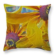 Susan's Extreme Make-over - Abstract Floral - Macro Black-eyed Susans Throw Pillow