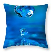 Suspended Drop In Blue Throw Pillow