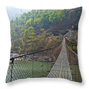 Suspension Bridge Over The Seti River In Nepal Throw Pillow