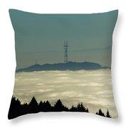 San Francisco's Sutro Tower Across The Sea Of Fog Throw Pillow