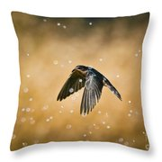 Swallow In Rain Throw Pillow by Robert Frederick