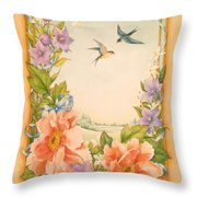 Swallows And Peonies Throw Pillow