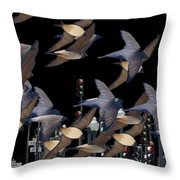 Swallows In The City Throw Pillow