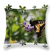 Swallowtail 4 With Flower Framing Throw Pillow