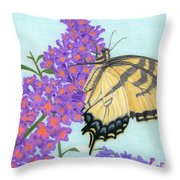 Swallowtail Butterfly And Butterfly Bush Throw Pillow