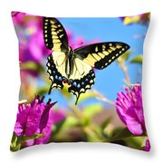 Swallowtail In Flight Throw Pillow