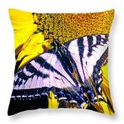 Swallowtail Sunflower Throw Pillow