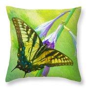 Swallowtail Visits Hosta Flowers Throw Pillow