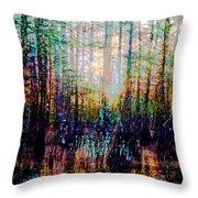 Swamp Colorfest Throw Pillow