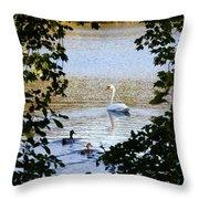 Swan And Ducks Through Trees Throw Pillow