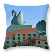 Swan And Shell Throw Pillow