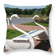 Swan Bench Throw Pillow