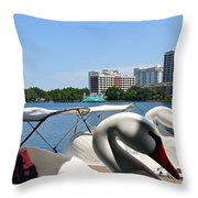 Swan Boats And Buildings Throw Pillow