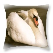 Swan Cameo In Sepia Throw Pillow