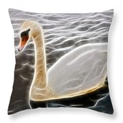 Swan In The Water Fractal Throw Pillow
