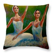 Swan Lake II Throw Pillow by John  Nolan