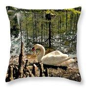 Swan Lake Watercolor Throw Pillow