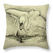 Swan Landing Throw Pillow