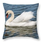 Swan On Blue Waves Throw Pillow