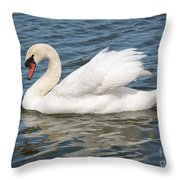 Swan On Blue Waves With Border Throw Pillow