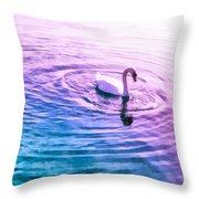Swan Ripples Throw Pillow