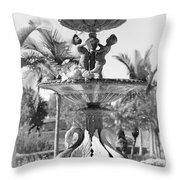 Swan Statue - Black And White With Vignette Throw Pillow
