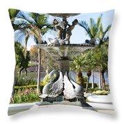 Swan Fountain In Lakeland Throw Pillow