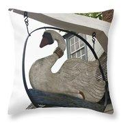 Swan Tavern Sign Yorktown Throw Pillow by Teresa Mucha