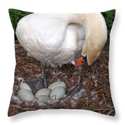 Swan Watching Over The Eggs Throw Pillow