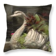 Swan With Beautiful Flowers Throw Pillow