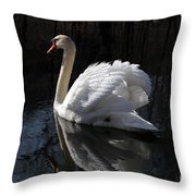 Swan With Reflection  Throw Pillow