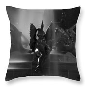 Swann Fountain At Night In Black And White Throw Pillow