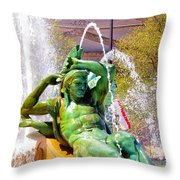 Swann Fountain Gods Throw Pillow